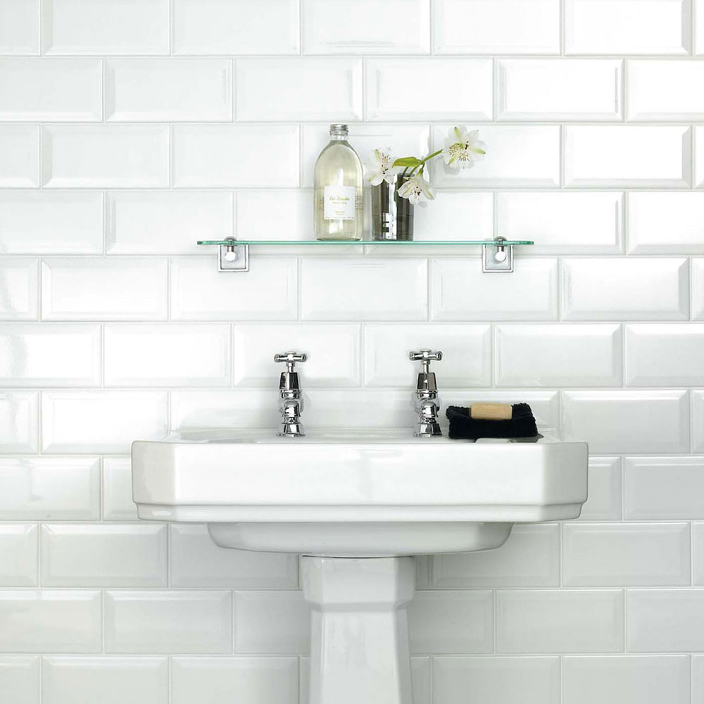 White Metro Belvelled Wall Tiles - Crown Tiles